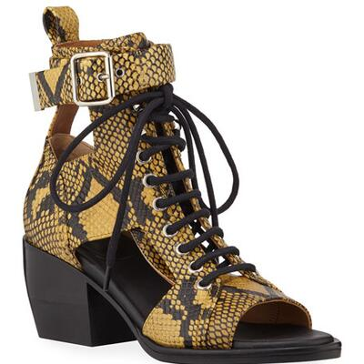 Chloe Snake-Print Leather Lace-Up Sandals