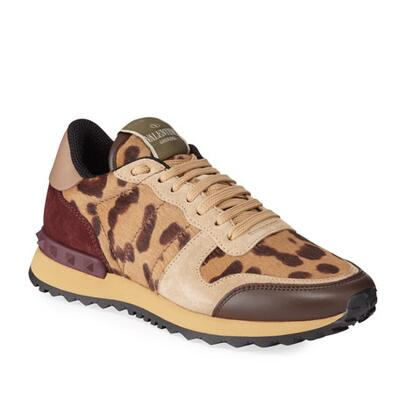 Valentino Garavani Mens Mixed-Media Leopard Trainer Sneakers