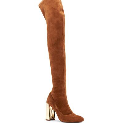 BCBGMAXAZRIA Bea Stretch Suede Mirrored-Heel Over-the-Knee Boots