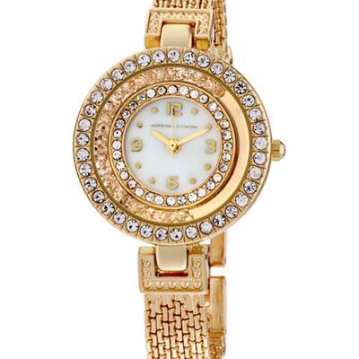 Adrienne Vittadini 32mm Moving Crystal Watch w/ Bracelet, Gold