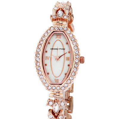 Adrienne Vittadini 37mm Crystal Elongated Watch w/ Bracelet, Rose Gold