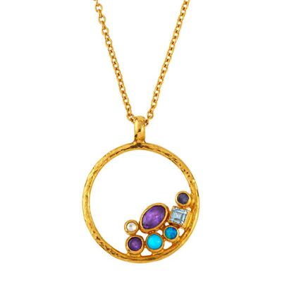 Gurhan Limited Edition Pointelle Hue Circle Pendant Necklace
