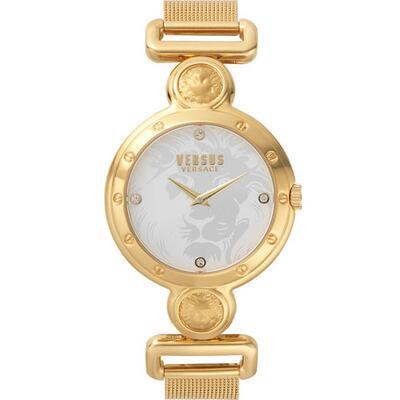 Versus Versace 39mm Mesh Bracelet Watch w/ Crystals, Yellow Gold