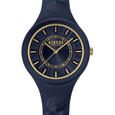Versus Versace 39mm Fire Island Studded Rubber Watch, Rose/Navy