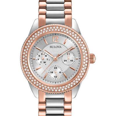 Bulova 38mm Crystal Chronograph Watch w/ Bracelet Strap, Two-Tone