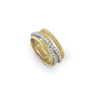 Marco Bicego Goa Five-Row Crossover Ring with Diamonds