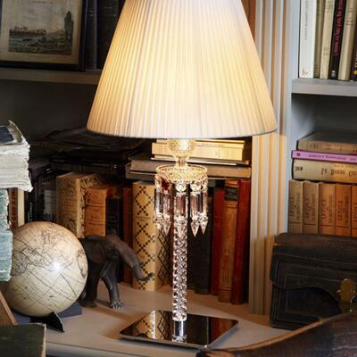 Baccarat Torch Crystal Desk Lamp with White Shade