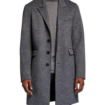 Vince Mens Plaid Knee-Length Car Coat
