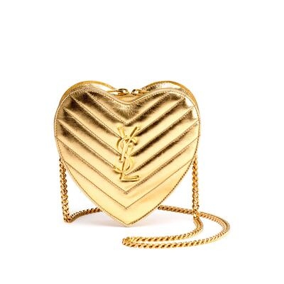 Saint Laurent Monogram Small Love Crossbody Bag, Gold