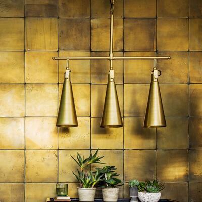 Triple Conical Brass Pendant Graham & Green