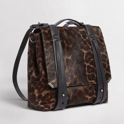 4a50217af6130 ALLSAINTS UK  Womens Vincent Leather Backpack (leopard black)