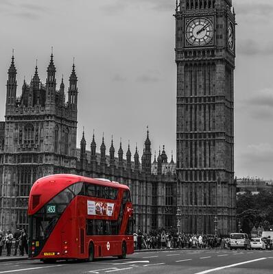 Ride a double-decker bus in London