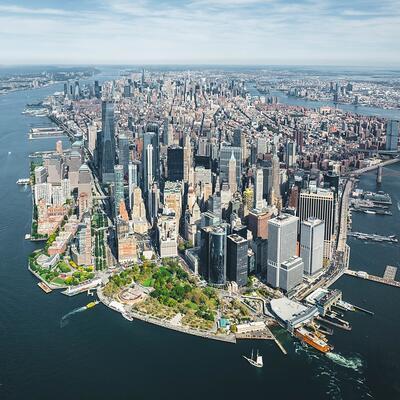 Helicopter flight over Manhattan