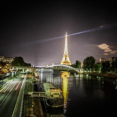 Walk along the Seine at night