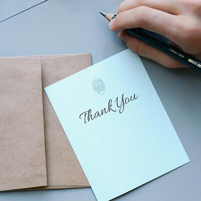Send 100 Thankyou notes to people for whom you are grateful
